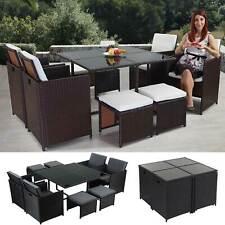Poly-Rattan Garten-Garnitur Kreta, Lounge-Set Sitzgruppe schwarz braun