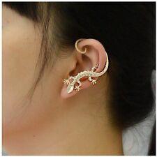 WOMENS SILVER GOLD LIZARD GECKO OVER EAR CUFF CLIP ON EARRING STUD HOOP GIFT UK