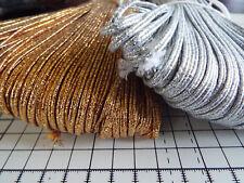 2m -  Soutache Cord Silver or Gold Metallic  - width 3mm