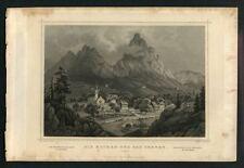 VUE DE SEEWEN EN SUISSE Gravure originale de 1850