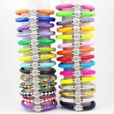 Shamballa Armband Armkette Kristall Kugel Glitzer Nylon Leder versch. Farben