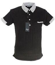 Black classic polo shirts mod cloth gingham collar
