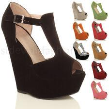 Mujer Damas Tacón Alto Cuña Zapatos Plataforma Peep Toe Hebilla T-Bar Sandalias Tamaño