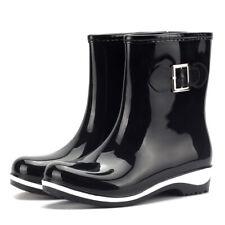 Women's Waterproof Slip On Bow Anti-Slip Work Garden Mid-Calf Rain Boots Shoes