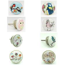 Happy Birds Ceramic Door Knobs Porcelain Kitchen Door Handles Cupboard Pulls New