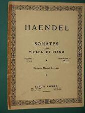 Partition Violon et piano  3 Sonates HAENDEL Vol II rév. LEJEUNE ed. SCHOTT