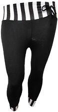 NEW WOMENS PLUS SIZE BLACK STRIPE PRINT 3/4 BOW TIE LEGGINGS TROUSERS 12-26