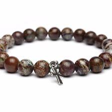Bracelet perles 8mm pierre naturelle gemme Opale Croix Acier inoxydable FaitMain