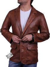 Leather blazer and reefer jackets  men Vintage Brown leather blazer Smart jacket