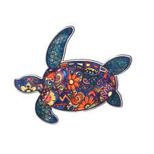 Women Men Acrylic Printing Animal Tortoise Elephant Horse Brooch Pin Jewellery