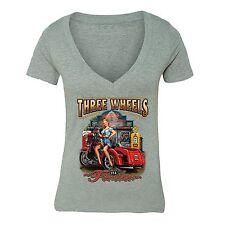 Three Wheels Motorcycle Tshirt Vehicle USA Blonde American Girl T-shirt Gray