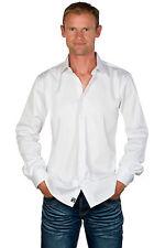 Ugholin - Chemise Homme Coton Stretch Unie Blanche Manches Longues Coupe Ajustée