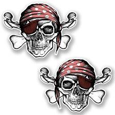 2 X 10 Cm Jolly Roger Calavera adhesivos de vinilo de Crossbones Laptop Bandera De Pirata # 6624