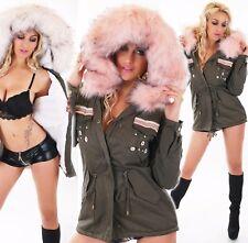 Damen Parka Mantel Jacke großer Pelz Webpelz Teddyfutter Kunstfell rosa weiß