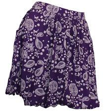Falda globo Falda Mini Minifalda Patrón de Paisley Stretch Falda Púrpura 859099