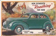 Ad Postcard - 1939 Plymouth Roadking 5 Passenger Sedan