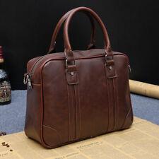 """Travel Business Bag Men's PU Leather Briefcase 13"""" Laptop Bag Shoulder Work Bag"""