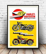 Harley Davidson 1935 , Vintage motorcycle advertising , Poster reproduction.