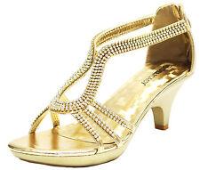 New women's shoes evening rhinestones back zipper med heel wedding prom Gold