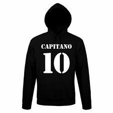 Felpa CAPITANO 10 Divertente Sweatshirt Hoodie Urban Cotone Cappuccio Calcio vip