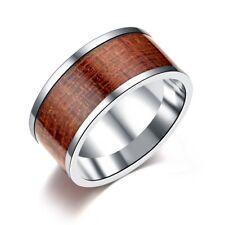 Men Band Male 10MM Titanium Steel Wood Grain Insert Rings Silver Jewelry SZ 7-12