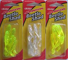 "New listing 3 - Berkley Johnson Beetle Shad - 1"" - 8/pk - Three Different Colors 12.31"