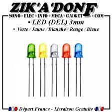 LOT NEUF de 10 LED 3mm BI//COLOR ROUGE//BLEU cathode commune R 470 Ω pour 12V
