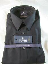 NWT STAFFORD BIG & TALL PERFORMANCE SUPER SHIRT X-TALL FIT, Black Solid