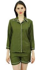 Bimba Olivgrünes Button-Down-Shirt mit elastischen Taillen-Shorts 2 Stk