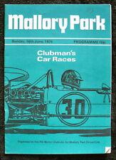 Mallory Park Clubman del coche de carreras programa 16 Jun 1974
