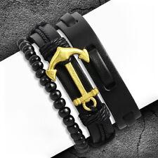 Damen Herren Surfer Armband Set Anker Maritim Vintage Leder Holz Perlen Seil