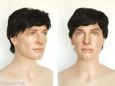 Medium Human Hair  Straight Brunette Red Grey Men Wig Human Men