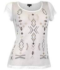 LAURA SCOTT Shirt Netz GR. 34 36 Print cremeweiss Damen NEU