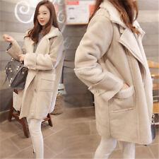 UK Womens Suede Lamb Lining Oversize Coat Jacket Ladies Lapel Warm Long Outwear