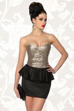 Abendkleid Kleid Pailletten schwarz gold Minikleid schulterfrei Retro in L