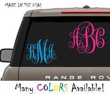 Your 3 Initials Monogram Vine Decal For Car Truck Window Vinyl Letter Big