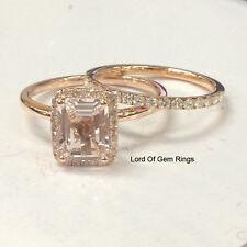 2 Wedding Ring Sets!Morganite Diamond Moissanite Engagement Ring,14K Rose Gold