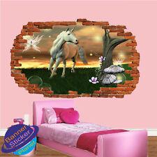Unicornio en Tierra de fantasía épica Habitación Guardería Oficina Pegatinas De Pared Arte Murales XX1