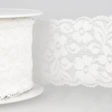 La Stephanoise White 60mm Wide Stretch Elastic Lace Ribbon Cut Lengths 001