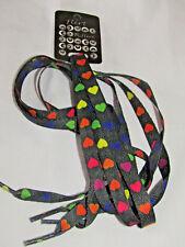 Black & Multi Coloured Hearts Flat Shoe Laces 10mm Wide 115cm Long By Flirt H1