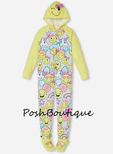 NWT JUSTICE Girls Hooded Emoji Onsie Pajama PJ Removable Footies Sz 10  SOLD OUT