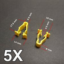5X Yellow wheel arch trim clips for Honda Civic, CRV & HRV