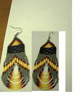 seed beaded earrings looped  grey and  navaho   /teardrop