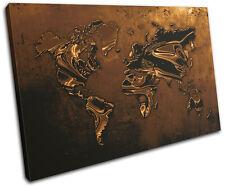 World Atlas Metal Modern Gold Maps Flags Single Canvas Wall Art Picture Print