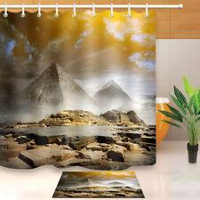 "Storm Clouds Fog Egyptian Pyramids Shower Curtain Set Bathroom Waterproof 72X72"""