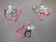 NEW Lot of 3 Accessory Pkts Raspberry Choker Pearl Sequin Sprays Rhinestone Pin
