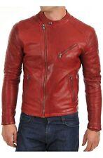 Men's Asymmetrical Zipper Slim Fit Moto Red Biker Real Leather Jacket