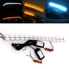 2Pcs White/Amber Car Flowing DRL LED Knight Rider Light Strip Tube Turn Signal