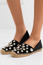 $258 NEW Tory Burch VAIL Espadrille Cryst Embellished Velvet Black Shoes 5.5 6 9