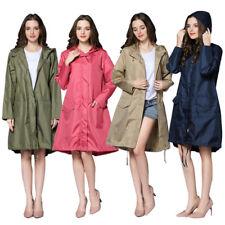 Women Raincoat Waterproof Portable Outdoor Rain Jacket Zipper Hooded Windbreaker